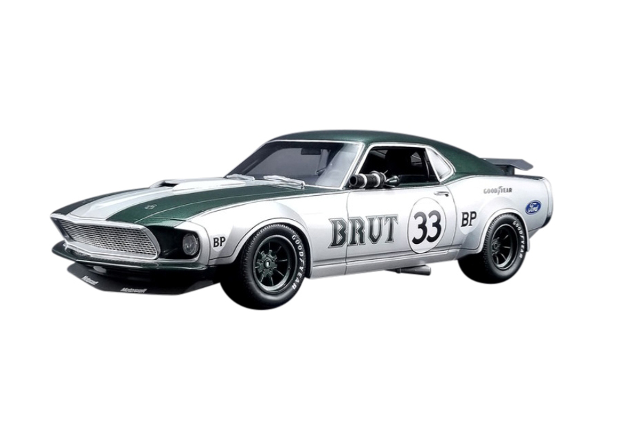 1969_Ford_Mustang_Boss_302_Trans_Am_33_Brut_Allan_Moffat_Silver_with_Green_Stripes_118_Model_Car_by_Real_Art_Replicas