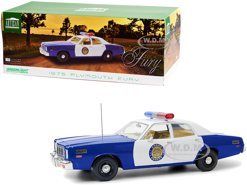 """http://www.diecastmodelswholesale.com - 1975 Plymouth Fury """"Osage County Sheriff"""" Blue and White 1/18 Diecast Model Car by Greenlight"""