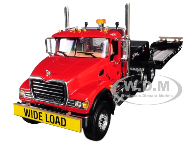 Mack Granite with Tri Axle Lowboy Trailer Cherry Red 1/34 Diecast Model by First Gear