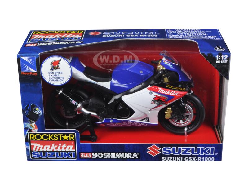 "Suzuki GSX-R1000 1 ""Makita Suzuki Rockstar"" Bike Motorcycle 1/12 by New Ray NR57027"