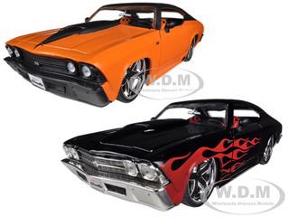 1969 Chevrolet Chevelle SS Black & Orange 2 Cars Set 1/24 Diecast Model Cars by Jada