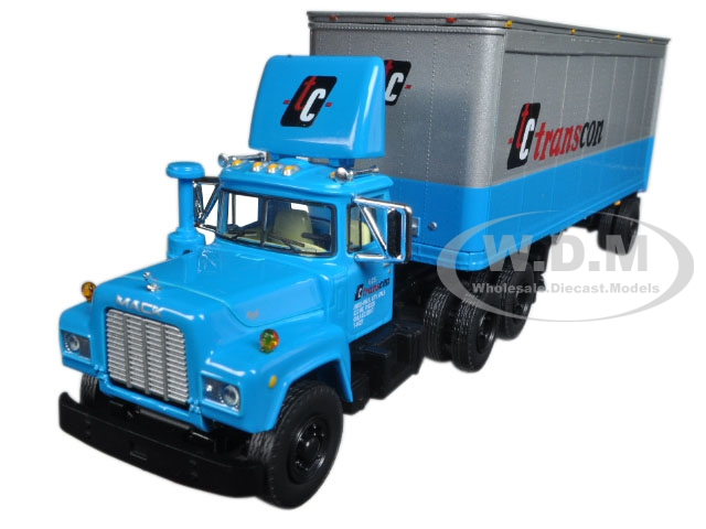 Mack R Model With 28 Pop Trailer TC Transcon 1/64 Diecast Model Car by First Gear