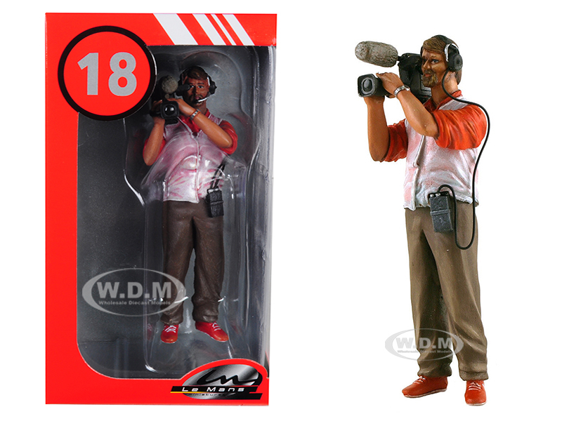 Thierry Cameraman with Video Camera and Headphones Figurine for 1/18 Model Cars by Lemans Miniatures
