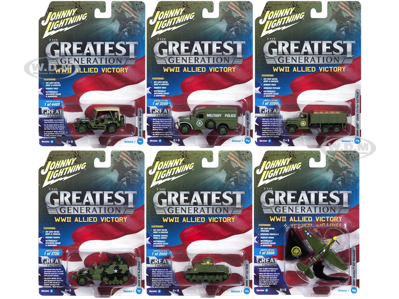 """""The Greatest Generation"""" Military Release 1 Set A of 6 1/64 1/87 1/100 1/144 Diecast Models by Johnny Lightning"" JLML001A"