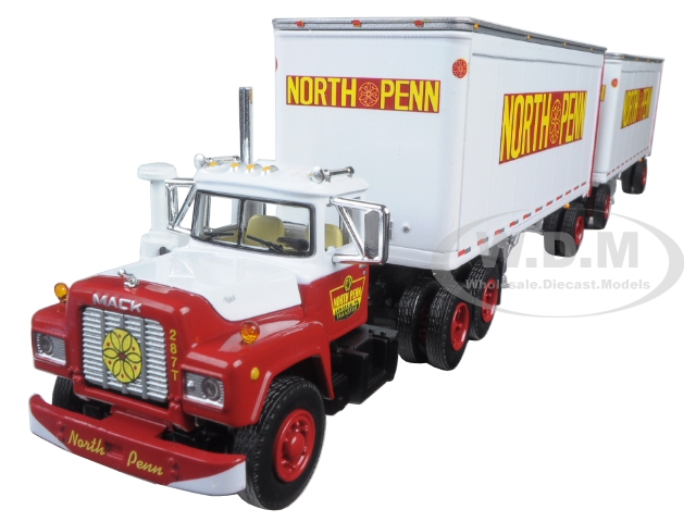 Mack R Model Truck North Penn With Dual 28 Trailers 1/64 Diecast Model by First Gear