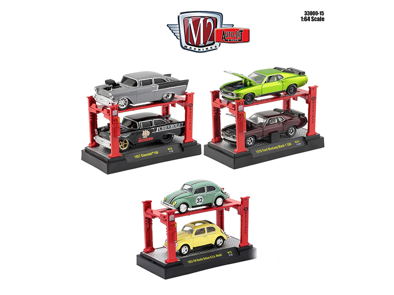 Auto Lift Series 15 6pc Diecast Car Set 1/64 Diecast Model Cars by M2 Machines