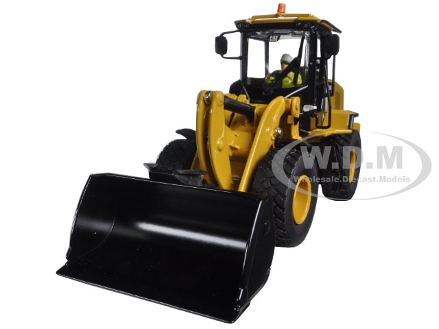 CAT Caterpillar 938K Wheel Loader with Interchangeable Work Tools Bucket and Fork with Operator 1 50 Diecast Model by Diecast Masters
