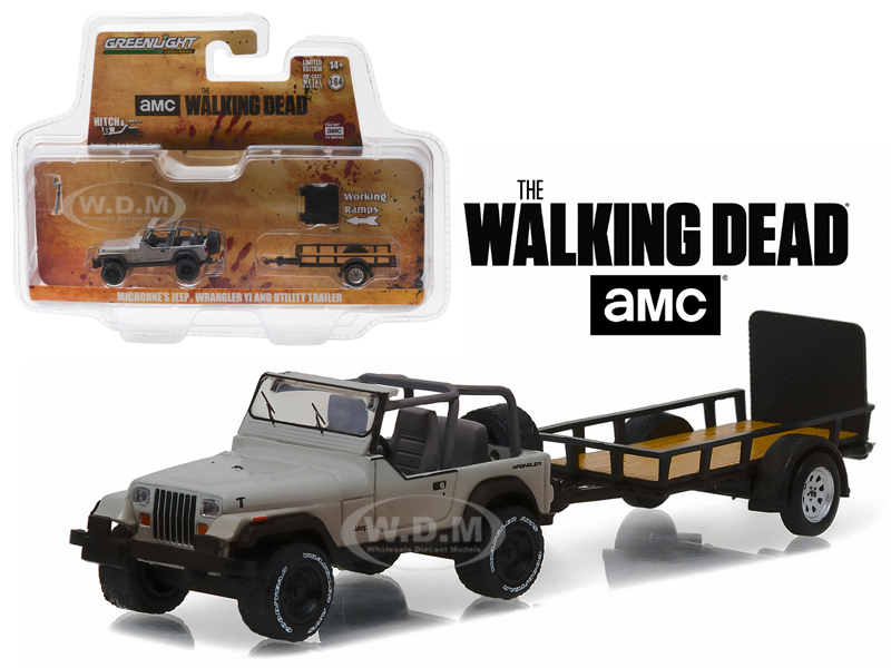 "Michonnes Jeep Wrangler YJ and Utility Trailer ""The Walking Dead"" 2010-Current TV Series Hitch & Tow Series 8 1/64 Diecast Model Car  by Greenlight 32080B"