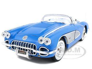 1958 Chevrolet Corvette Convertible Blue 1/18 Diecast Model Car by Motormax