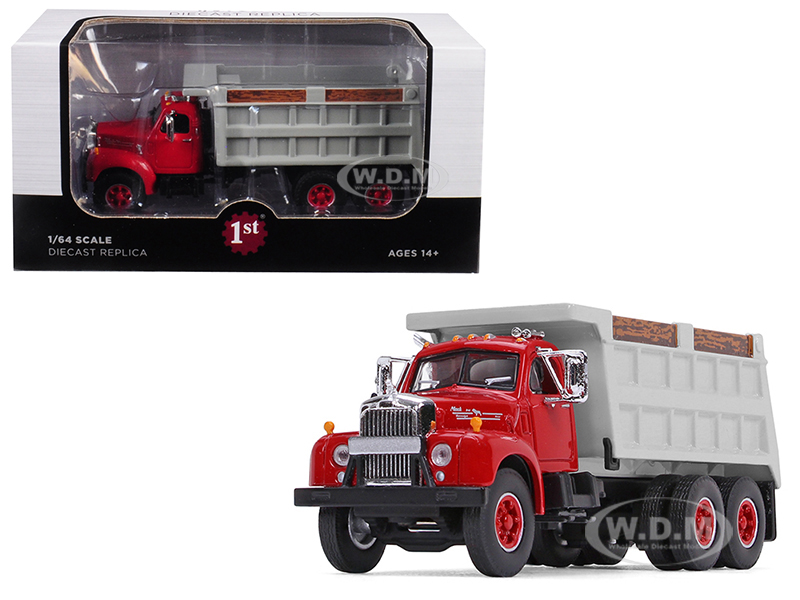 Mack B-61 Tandem Axle Dump Truck Red Cab/ Gray Body 1/64 Diecast Model by First Gear