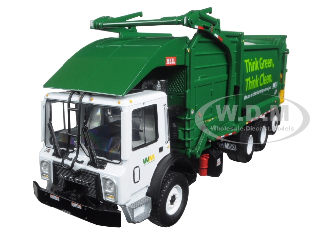 Mack TerraPro Waste Management Garbage Truck with Heil Half/Pack Freedom Front End Loader with CNG Tailgate including Bin 1/34 Diecast Model by First Gear