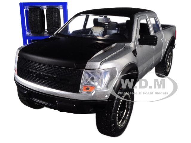 2011 Ford F-150 SVT Raptor Pickup Truck Silver with Matte Black Top and Extra Wheels