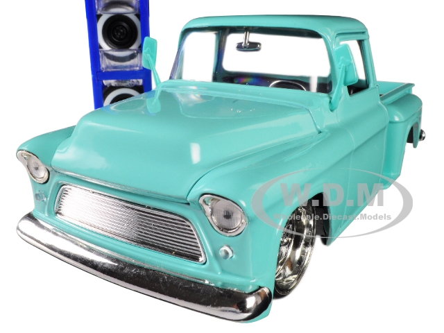 1955 Chevrolet Stepside Pickup Truck Light Turquoise with Extra Wheels