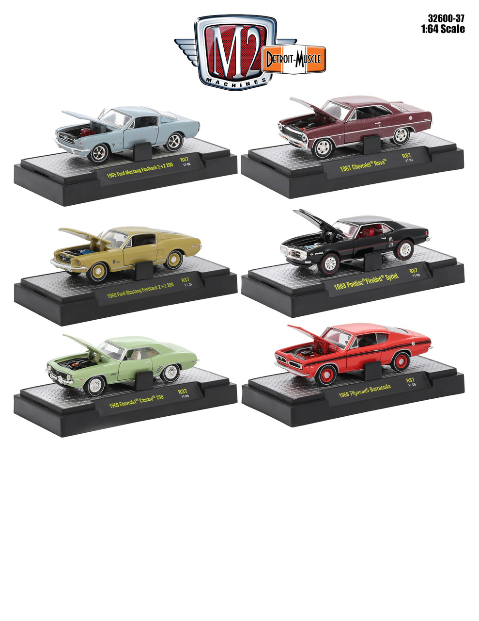 Detroit Muscle 6 Cars Set Release 37 IN DISPLAY CASES 1/64 Diecast Model Cars by M2 Machines 32600-37