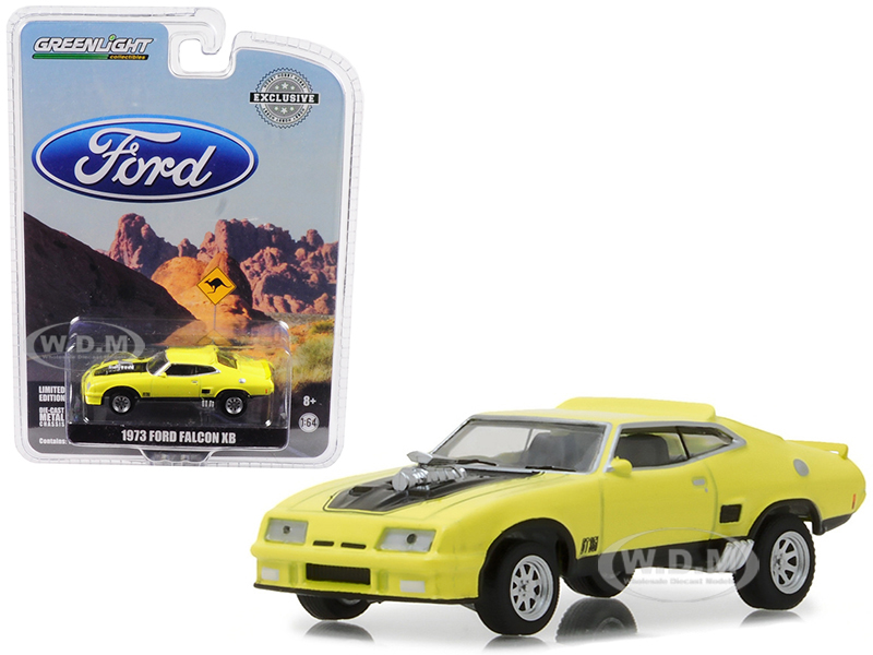 1973 Ford Falcon XB Yellow with Black Stripe Hobby Exclusive 1/64 Diecast Car Model by Greenlight