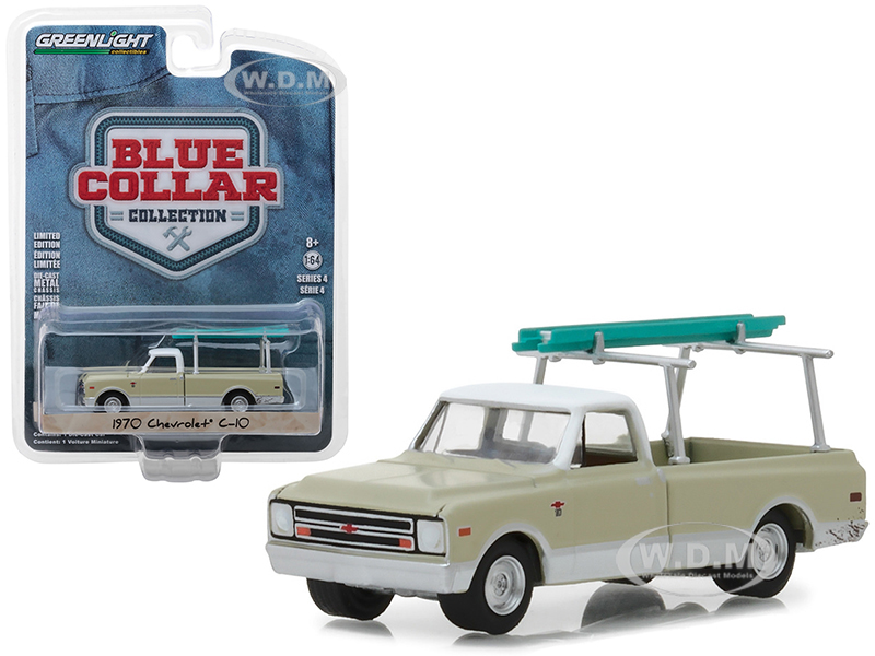 1970 Chevrolet C-10 Pickup Truck Cream with Ladder Rack Blue Collar Collection Series 4 1/64 Diecast Model Car by Greenlight