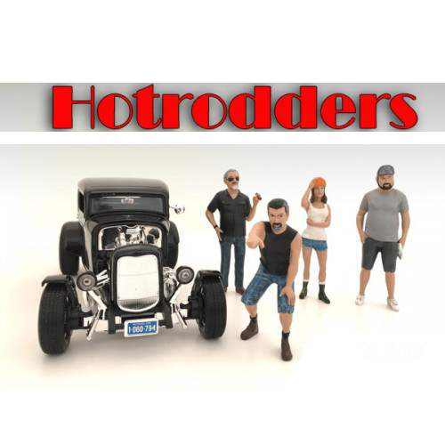 """Hotrodders"" 4 Piece Figure Set For 1:18 Scale Models by American Diorama.Packed in a blister pack.Only 4 figures will be received.DerekNancyRobertBillEach standing figure is approximately 4 inches tall."