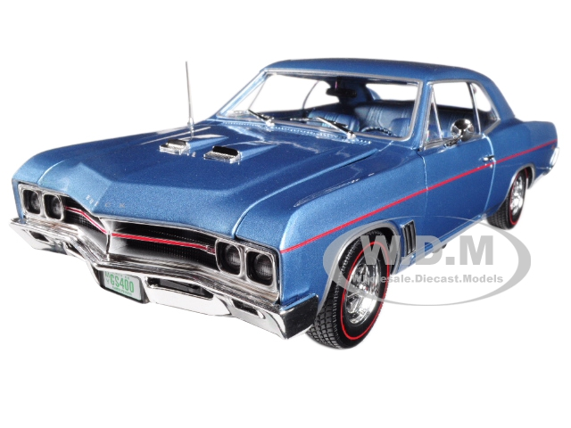 1967 Buick GS Hardtop Sapphire Blue and 1/64 Scale 1967 Buick GS Hardtop Sapphire Blue 2 Cars Set Limited Edition to 1002pc 1/18 Diecast Model Car by Autoworld