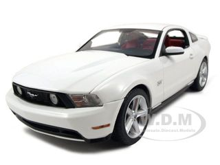 2010 Ford Mustang GT Coupe Performance White with Brich Red Interior With Cashmere White Seat Stripes 1/18 Diecast Car Model by Greenlight
