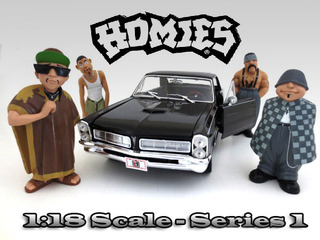 "Comes in a blister pack.Big Loco Chango Eightball Mr. Raza.Only four figures will be received.Does not come with the car shown.Each standing figure is approximately 4 inches tall.""Homies"" Figure Set of 4pc For 1:18 Scale Diecast Model Cars by American Diorama."