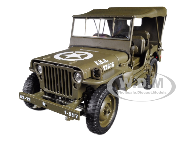 1941 Jeep Willys Mb With Soft Top Green Wwii U.s. Army 1/18 Diecast Model Car By Welly