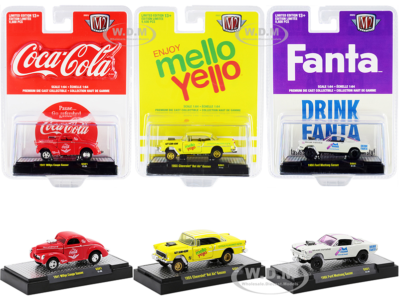 """""""3 Sodas"""" Gasser Release Set of 3 pieces Limited Edition to 9600 pieces Worldwide 1/64 Diecast Model Cars by M2 Machines"""