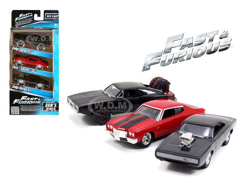 Fast and Furious Doms Rides Chargers and Chevelle 3 Pack Set 1/55 Diecast Model Cars by Jada 97426