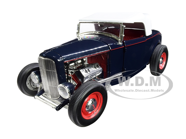 1932 Ford Roadster Washington Blue With White Top Limited Edition To 500 Pieces Worldwide 1/18 Diecast Model Car By Acme