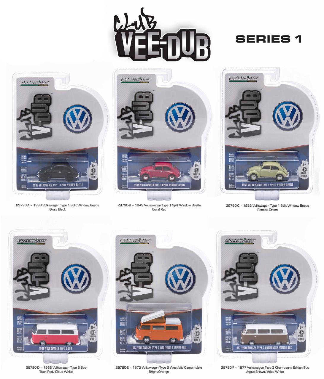 Greenlight Vee Dub Series 1 6pc Diecast Car Set 1/64 Diecast Model Car by Greenlight