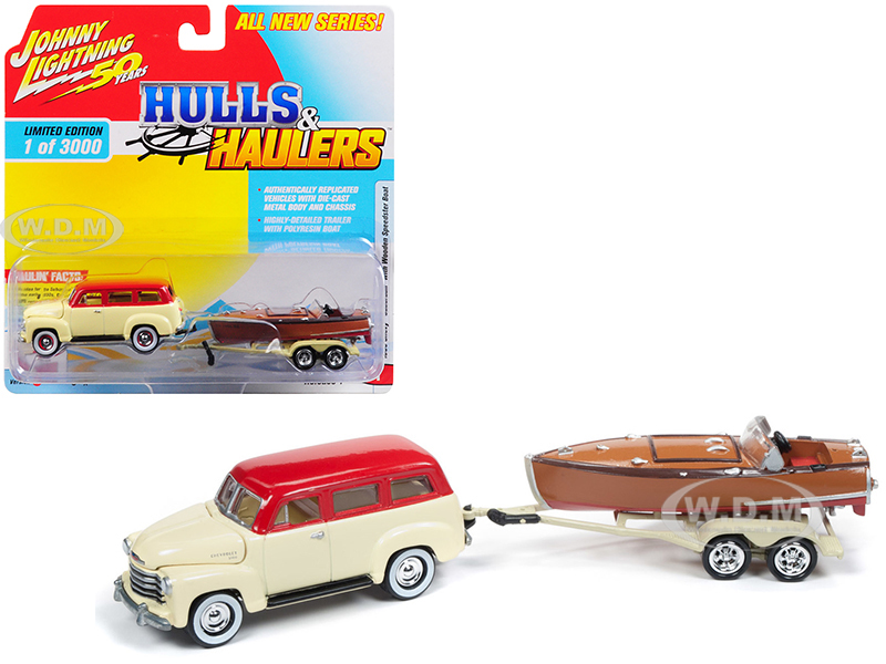 1950_Chevrolet_Suburban_Ivory_Cream_and_Red_Top_with_Vintage_Wooden_Speedster_Boat_Limited_Edition_to_3000_pieces_Worldwide_Hulls_&amp_Haulers_Ser