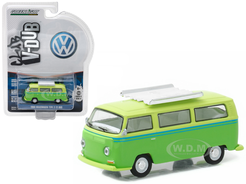 1968 Volkswagen Type 2 T2 Bus Green with Roof Rack 1/64 Diecast Model Car  by Greenlight