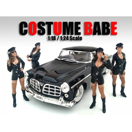 """Costume Babes"" 4 Piece Figure Set For 1:24 Scale Models by American Diorama.Packed in a blister pack.Only 4 figures will be received.Costume Babe Alexa.Costume Babe Brooke.Costume Babe Candy.Costume Babe Daphne.Each standing figure is approximately 3 inches tall."