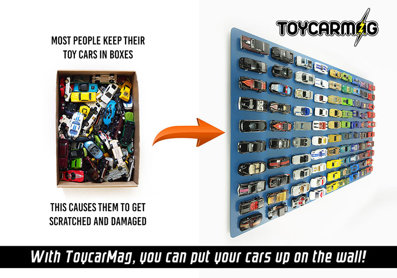 10pc Clip-On Magnets Clip and Display 1/64 Scale Model Cars by Toyscarmag