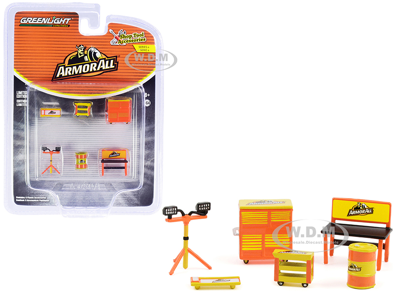 """""""Armor All"""" 6 piece Shop Tools Set """"Shop Tool Accessories"""" Series 4 1/64 Models by Greenlight"""