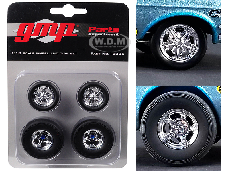 Wheels and Tires Set of 4 from Ohio Georges 1967 Ford Mustang Malco Gasser 1/18 by GMP