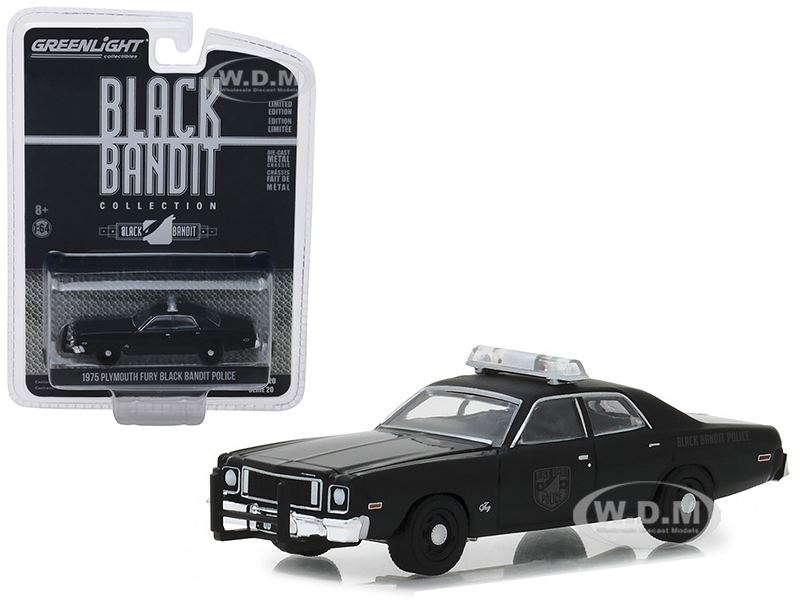 1975_Plymouth_Fury_Black_Bandit_Police_Black_Bandit_Series_20_164_Diecast_Model_Car_by_Greenlight
