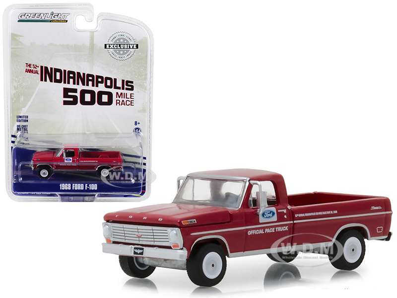 1968_Ford_F100_Pickup_Truck_with_Long_Bed_Red_52nd_Annual_Indianapolis_500_Mile_Race_Official_Truck_Hobby_Exclusive_164_Diecast_Model_Car_by_Gr