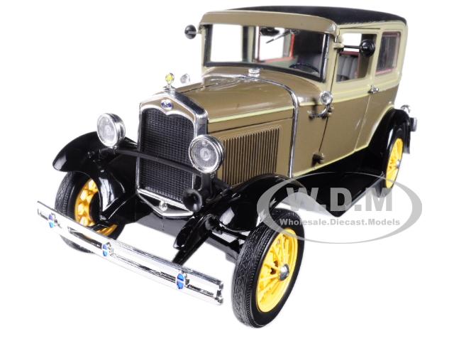 1931 Ford Model A Tudor Chicle Drab | Arabian Sand 1|18 Diecast Model Car by Sunstar