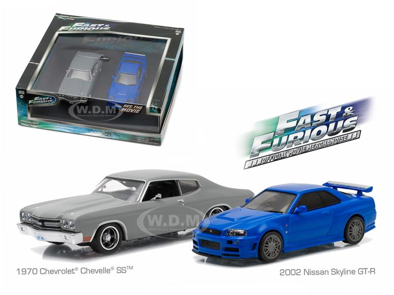 1970 Chevrolet Chevelle SS Grey and 2002 Nissan Skyline GT-R Blue Drag Scene