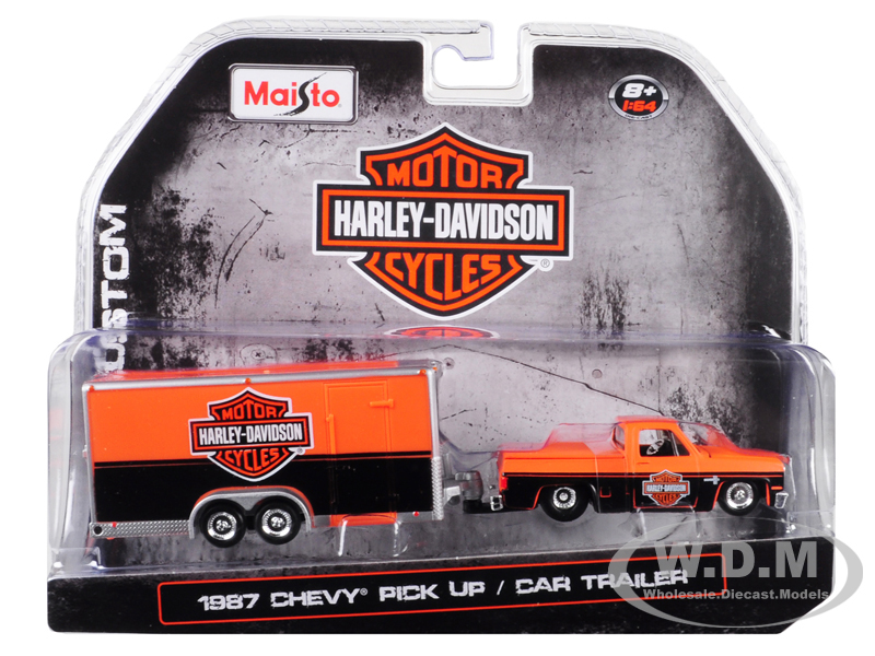 1987_Chevrolet_Pickup_Truck_with_Enclosed_Car_Trailer_Orange_and_Black_Harley_Davidson_164_Diecast_Model_Car_by_Maisto