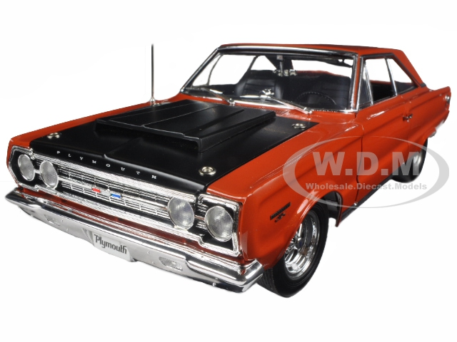 1967 Plymouth GTX HEMI Bullet Orange and Black Limited Edition to 714pcs 1/18 Diecast Model Car  by Acme
