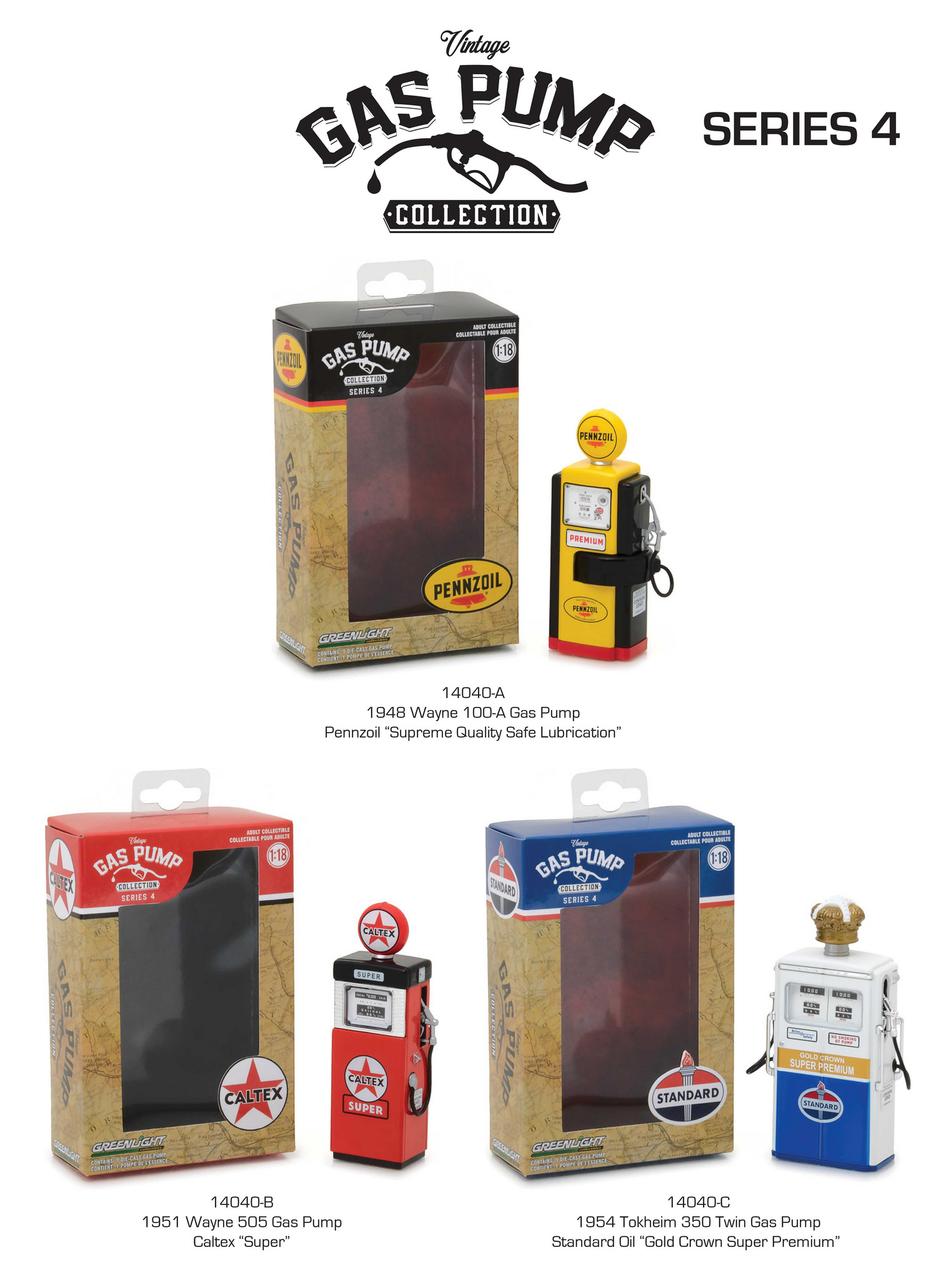 Vintage Gas Pump Series 4 Set of 3 Pumps 1/18 Diecast Models by Greenlight 14040-A-B-C