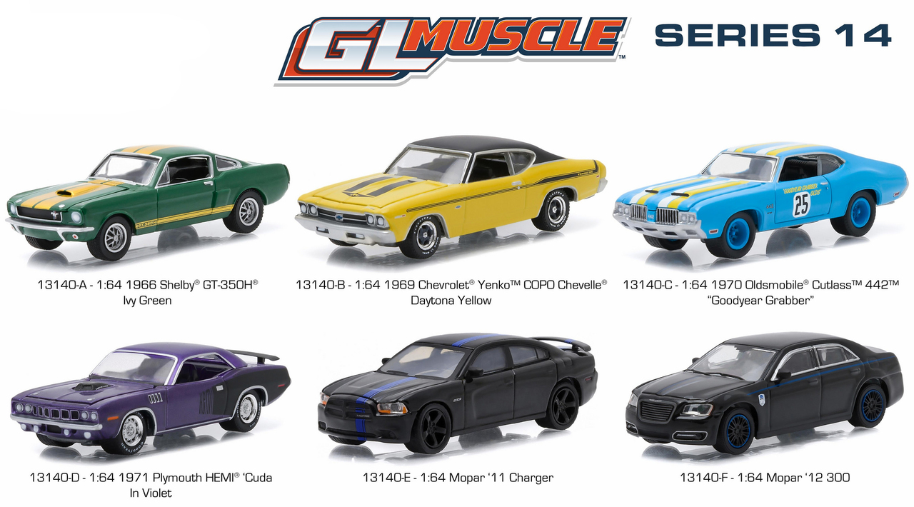 Greenlight Muscle / Release 14 6pc Diecast Car Set 1/64 Diecast Model Cars by Greenlight