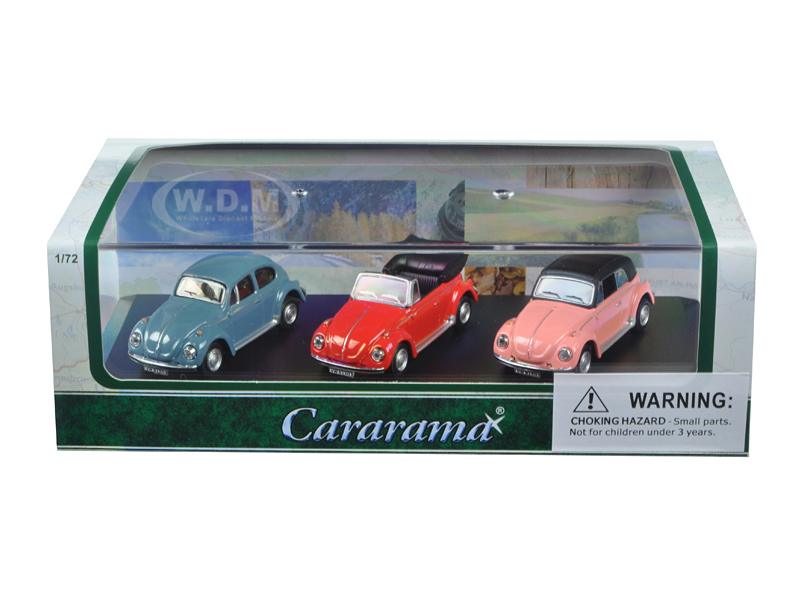 Volkswagen Beetle 3 Piece Gift Set In Display Showcase 1/72 Diecast Model Cars By Cararama