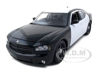 2006 Dodge Charger R/T Black/White Unmarked Police Car 1/18 Diecast Model Car