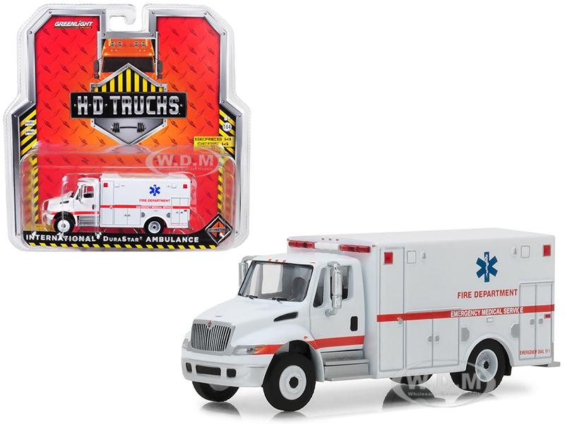 International_Durastar_Ambulance_Fire_Department_Emergency_Medical_Services_ALS_Unit_White_HD_Trucks_Series_14_164_Diecast_Model_by_Greenlight