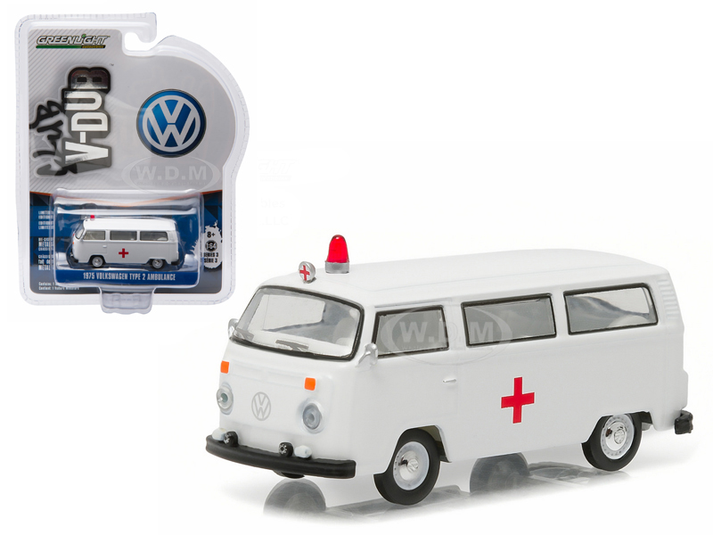 1975 Volkswagen Type 2 Bus (T2B) Ambulance with Roof Light and Siren 1/64 Diecast Model Car by Greenlight