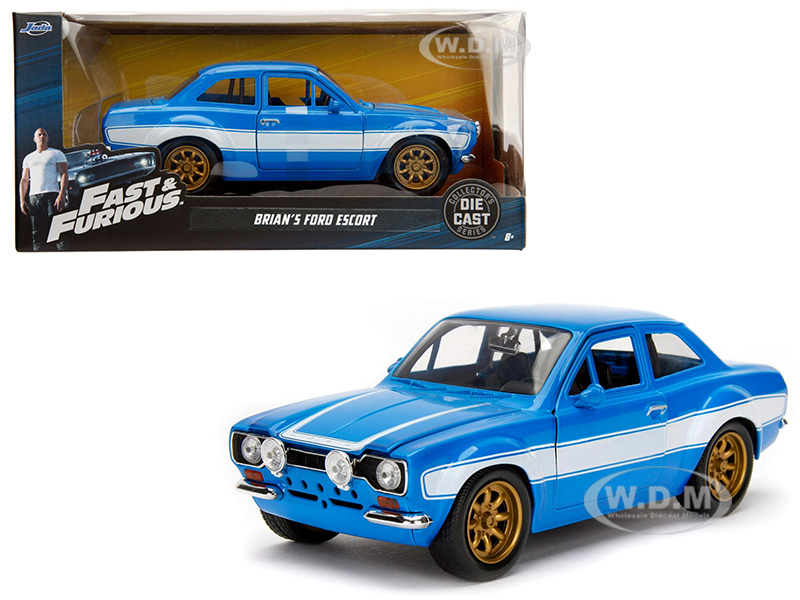 1970_Brians_Ford_Escort_Blue_with_White_Stripes_Fast_&amp_Furious_Movie_124_Diecast_Model_Car_by_Jada
