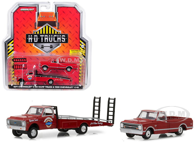1971_Chevrolet_C30_Ramp_Truck_Chevrolet_Super_Service_24_Hour_Towing_Red_with_1968_Chevrolet_C10_Pickup_Truck_Red_HD_Trucks_Series_14_164_Di