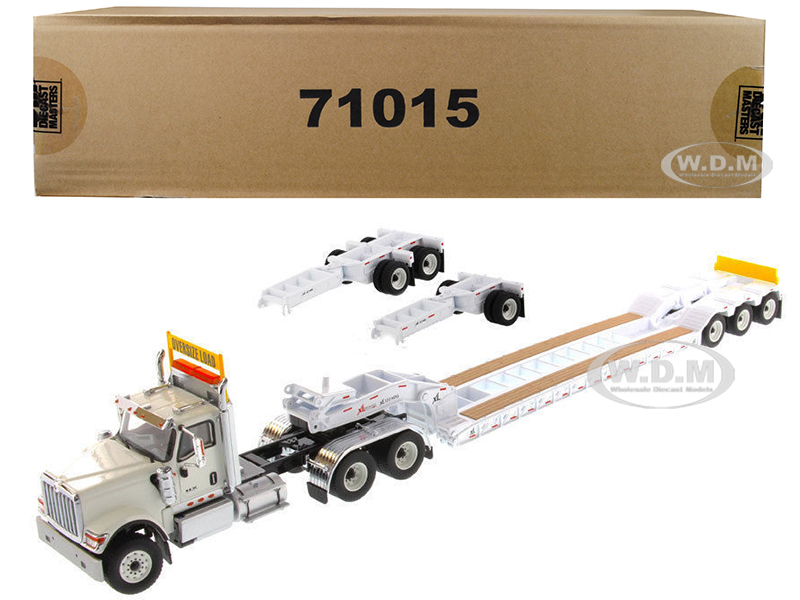 International HX520 Tandem Tractor White with XL 120 Lowboy Trailer 1/50 Diecast Model by Diecast Masters